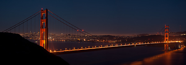 Golden Gate Bridge just after sunset