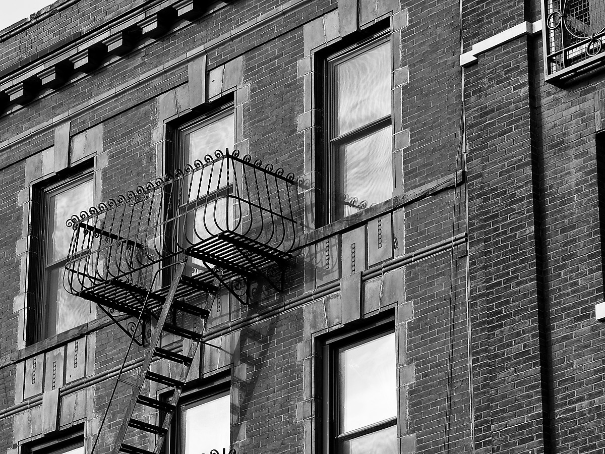 Fire Escape on a Brick Building in Brooklyn Hieghts