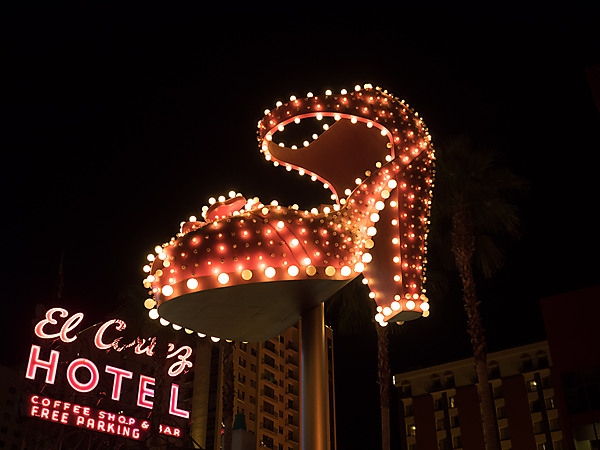 Lighted Slipper near El Cortez Hotel