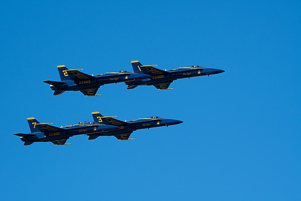 Four Blue Angels in Formation