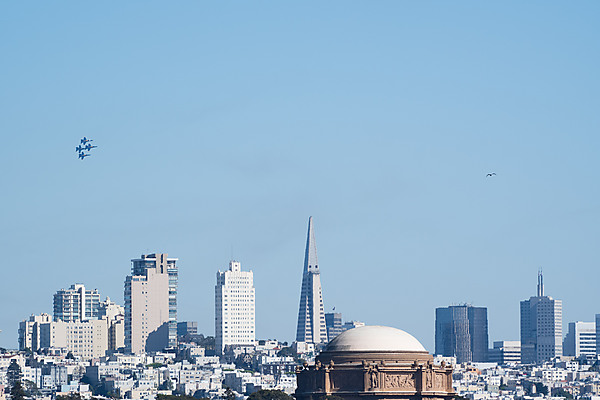Blue Angels Fly Over San Francisco Skyline