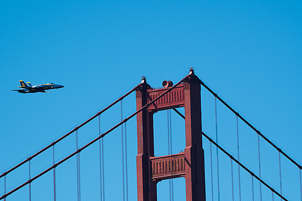 Blue Angels No 6 Flies Past the Golden Gate Bridge