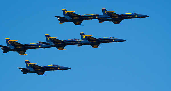 All Six Blue Angels in Formation