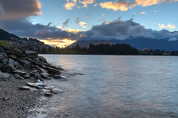 Sunrise Over Queenstown and  Lake Wakatipu