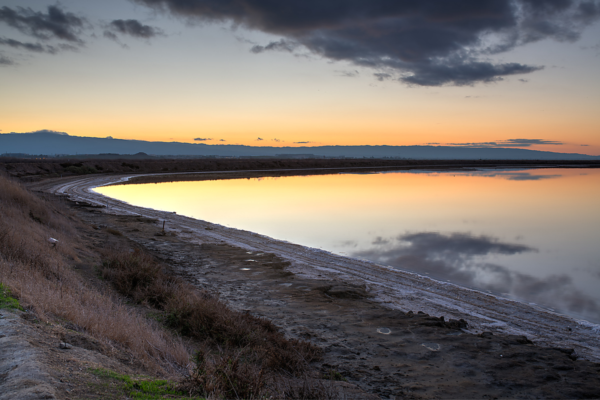 Alviso Salt Pond At Sunset